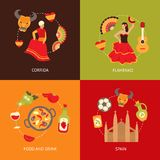 Spain icons composition set Royalty Free Stock Photo