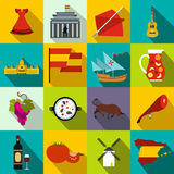 Spain icons flat. Spain icons in flat style for web and mobile devices Royalty Free Stock Image
