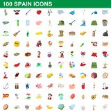 100 spain icons set, cartoon style. 100 spain icons set in cartoon style for any design illustration stock illustration