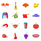 Spain icons set, cartoon style Royalty Free Stock Photography