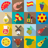 Spain icons set, flat style Royalty Free Stock Images