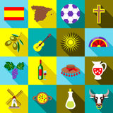 Spain icons set, flat style Royalty Free Stock Image