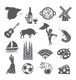 Spain icons set. Spanish traditional symbols and objects. vector illustration