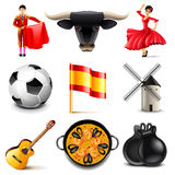 Spain icons vector set. Spain icons detailed photo realistic vector set Stock Photo