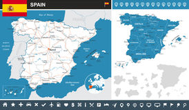 Spain - infographic map - illustration. Spain map and flag - highly detailed vector illustration Royalty Free Stock Photo