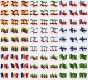Spain, Iran, Chile, Lithuania, Crimea, Finland, Andorra, Bulgaria, Adygea. Big set of 81 flags. Spain Iran Chile Lithuania Crimea Finland Andorra Bulgaria Royalty Free Stock Photo
