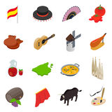 Spain isometric 3d icons Royalty Free Stock Image