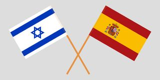 Spain and Israel. The Spanish and Israeli flags. Official proportion. Correct colors. Vector. Illustration vector illustration