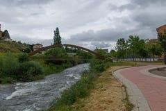 spain Järnbro av Cervera de Pisuerga Palencia royaltyfria foton