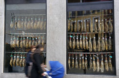 Spain Jamon Iberico Window Royalty Free Stock Photo