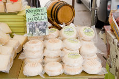 SPAIN,JUNE 26, 2013: Cheese made from buffalo milk. Farmers in the ranks of Montserrat, Catalonia, Spain on June 26,2013 Stock Photos