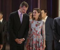 Spain kings at congress palace opening in mallorca. Spain Royals King Felipe and Queen Letizia gesture during the opening of the new congress palace in the Royalty Free Stock Photo