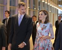 Spain kings at congress palace opening in mallorca. Spain Royals King Felipe and Queen Letizia gesture during the opening of the new congress palace in the Stock Photos