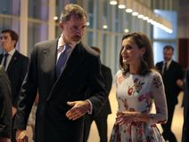 Spain kings at congress palace opening in mallorca. Spain Royals King Felipe and Queen Letizia gesture during the opening of the new congress palace in the Stock Image