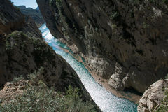 Spain landscape gorge. Aragon, Mont-Rebei Royalty Free Stock Images