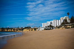 Spain Landscape with Hotel and Sand Beach Royalty Free Stock Photos