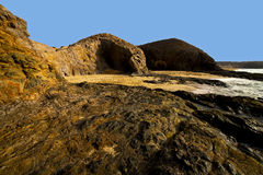 Spain landscape rock ky cloud beach   lanzarote  isle Royalty Free Stock Image