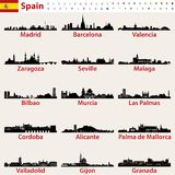 Spain largest cities skylines silhouettes vector set Stock Images