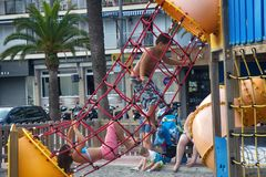 children's Playground on beach of Mediterranean sea