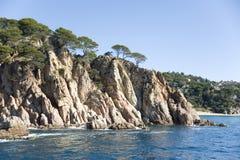 Spain.  Lloret de Mar. The rocky coast. Royalty Free Stock Image