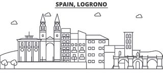 Spain, Logrono architecture line skyline illustration. Linear vector cityscape with famous landmarks, city sights Royalty Free Stock Image