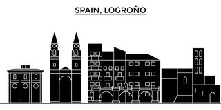 Spain, Logrono architecture vector city skyline, travel cityscape with landmarks, buildings, isolated sights on Royalty Free Stock Photography