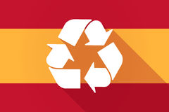 Spain  long shadow flag with a recycle sign Royalty Free Stock Photography