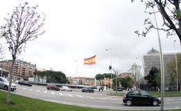 Spain Madrid.Flag of Spain in Madrid. NThe biggest flag in the world. That`s what the Spanish people say.n royalty free stock image