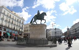 Spain Madrid.Statue of Carlos III in Puerta del Sol. Equestrian Statue of Carlos III.In the city center where there are many tourists stock images