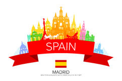 Spain, Madrid Travel Landmarks. Vector and Illustration Stock Images