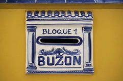 Spain Mailbox Buzon. Postbox, mailbox or Letter box in Spain, Malaga Royalty Free Stock Images