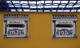 Spain Mailbox Buzon. Postbox, mailbox or Letter box in Spain, Malaga Stock Photos