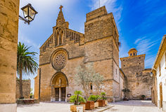Spain Majorca Alcudia. Historic city center of Alcudia with view of the church Esglesia de Sant Jaume, Mallorca island,  Spain Balearic Islands Stock Photo