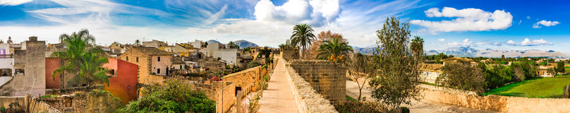 Spain Majorca Alcudia. Panoramic view of the historic city center of Alcudia, overview of the old town with medieval fortification wall, Mallorca Spain Stock Photos