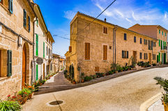 Spain Majorca Alcudia. Traditional streets of the old mediterranean town of Alcudia on Mallorca island, Spain Balearic Islands Stock Image