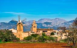 Spain Majorca Algaida. View of Algaida village with beautiful mountain landscape scene, Mallorca Spain stock image