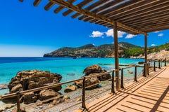 Spain Majorca bay in Camp de Mar. Camp de Mar Andratx, beautiful coast and beach on Mallorca island, seascape with turquoise blue sea water, Balearic Islands Stock Images