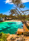 Spain Majorca beach Cala Llombards. Island scenery Mallorca, bay beach Cala Llombards Santanyi, Mediterranean Sea, Balearic Islands Stock Photo