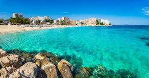 Spain Majorca beach Magaluf Calvia. View of beach and bay of Magaluf on Mallorca island, Spain Mediterranean Sea stock photo