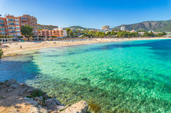 Spain Majorca beach Palmanova. View of the seaside on Mallorca island, beach Platja de Palmanova, Spain Mediterranean Sea, Balearic Islands Stock Image