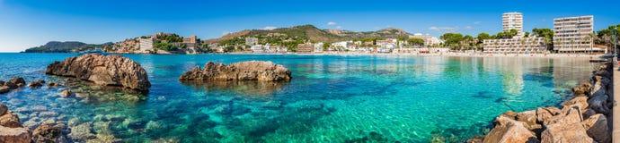 Spain Majorca, beach panorama of coast in Paguera. Beach panorama of Platja Palmira in Peguera on Majorca island, Spain Mediterranean Sea royalty free stock image