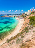 Spain Majorca beach Portals Nous. Mediterranean Sea coast Mallorca island, beach Portals Nous Platja de l`Oratori, Balearic Islands, Spain Royalty Free Stock Images