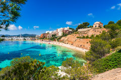 Spain Majorca Beach of Puerto Portals Nous. Mallorca beach bay of Puerto Portals Nous Platja de l`Oratori, Spain Mediterranean Sea, Balearic Islands Stock Photos