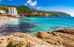 Spain Majorca beach Sant Elm. View of Platja de Sant Elm, Es Geparut, beautiful seaside on Mallorca island, Mediterranean Sea, Balearic Islands Stock Photo