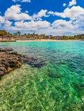 Spain Majorca beach in Santa Ponca. View of the beach in Santa Ponsa, beautiful seaside with turquoise blue sea water on Mallorca island, Mediterranean Sea Stock Photos