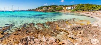 Spain Majorca beach seaside. Beautiful coastline bay beach on Mallorca island, Spain Mediterranean Sea Stock Images