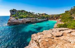 Spain Majorca beautiful beach of Cala Moro. Mediterranean Sea Spain Majorca, beautiful beach bay of Cala Moro with turquoise blue sea water and idyllic landscape Stock Photo