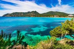 Spain Majorca, beautiful seaside landscape of Canaymel beach. Picturesque view of Canyamel island scenery of coast and bay, Mallorca Spain, Mediterranean Sea Stock Photos