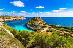 Spain Majorca beautiful view of Cala des Moro bay beach landscape Stock Photo