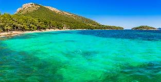 Spain Majorca Cala Formentor. Beautiful seascape scenery, seaside of Cala Formentor beach Mallorca Spain, Mediterranean Sea, Balearic Islands Stock Images